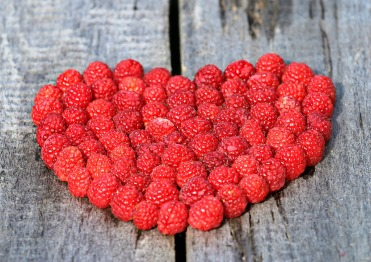 raspberries-in-heart-shape